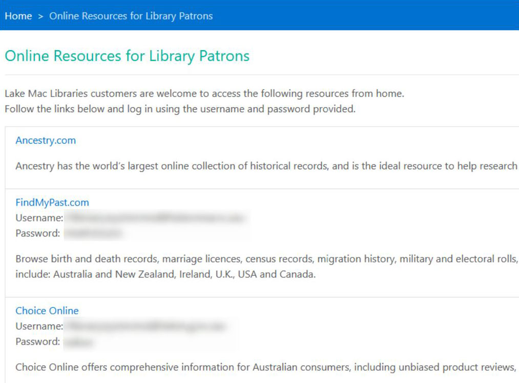 Online resources page